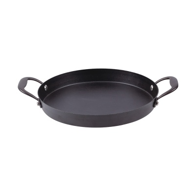 Open tapas pan, w/ 2 cast stainless steel side handles